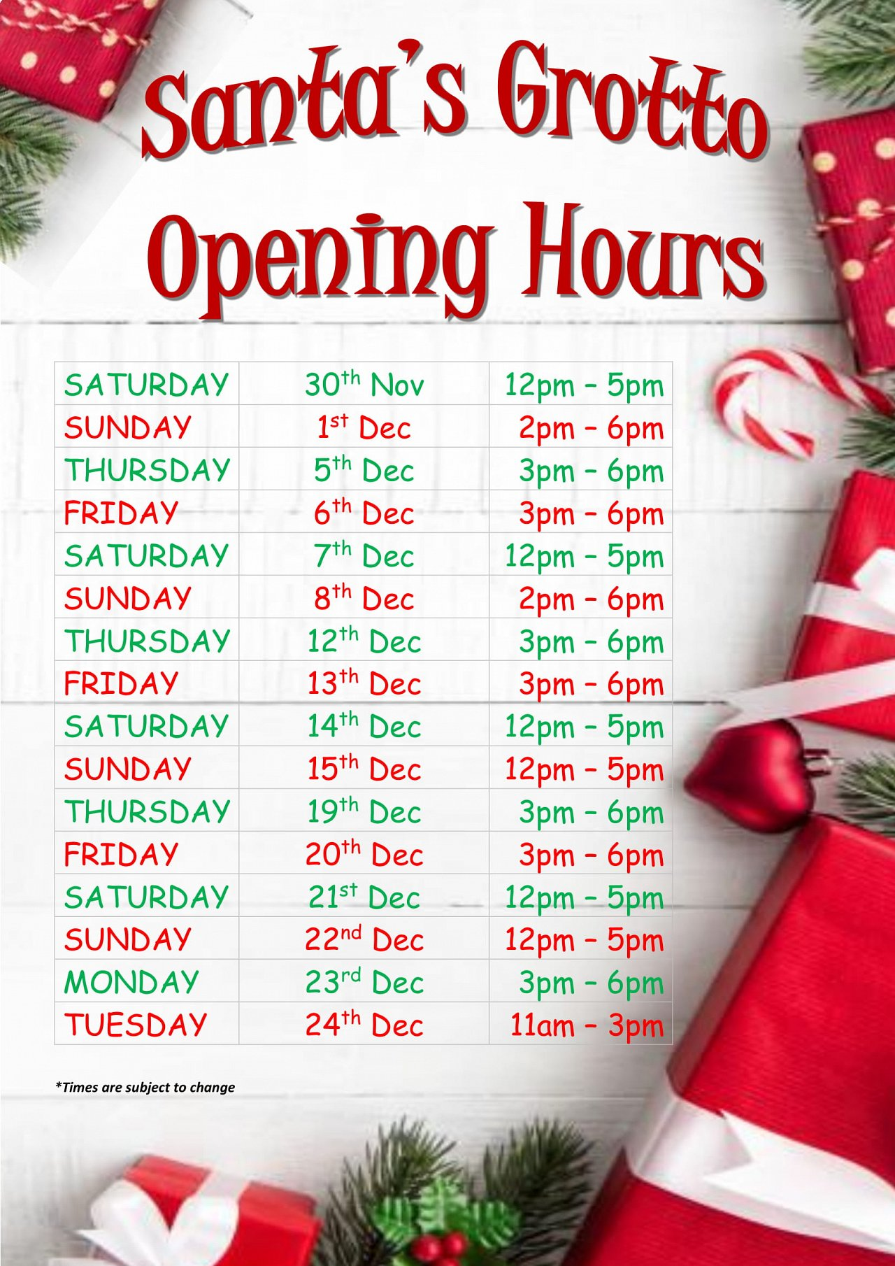 SANTA GROTTO OPENING HOURS